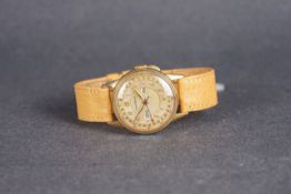 GENTLEMENS MOVADO TRI CALENDAR WRISTWATCH, circular two tone target dial with applied gold breguet
