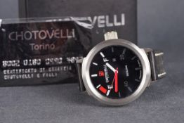 GENTLEMENS CHOTOVELLI WRISTWATCH W/ BOX & PAPERS, circular black petrol meter style dial with two