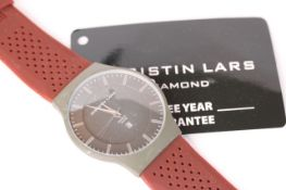 CHRISTIAN LARS QUARTZ DRESS WATCH, green dial and case, brown rubberised strap, with box and some