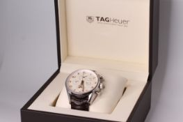 GENTLEMEN'S TAG HEUER CARRERA REFERENCE CV2A1AC W/BOX + PAPERS, cream dial, rose gold Arabic