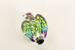 Eagle Brooch/Pendant, set with a sapphire, ruby eye, coloured enamel and marcasites, stamped