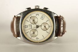GENTLEMENS DUNHILL CHRONOGRAPH WATCH, circular silver dial with hour markers and arabic numbers,