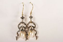 Pair of Ribbon-Style Drop Earrings, set with diamonds and 2 pearls, fish hook backs, comes with a
