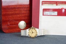 GENTLEMENS OMEGA CONSTELLATION WRISTWATCH W/ BOX & PAPERS REF. 12121000, circular textured gold dial