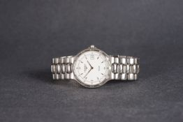 GENTLEMENS LONGINES QUARTZ DATE WRISTWATCH, circular white dial with and silver hour markers and