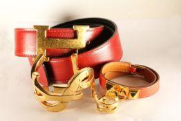 4 Branded Items, Hermes Belt - approximate total length 83cm at largest. Hermes Bracelet -