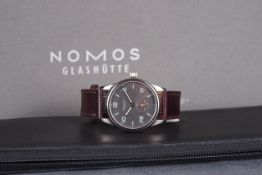 GENTLEMENS NOMOS GLASHUTTE CLUB CAMPUS WRISTWATCH W/ BOX & PAPERS REF. 3404, circular grey dial with