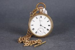 VINTAGE WALTHAM ROLLED GOLD POCKET WATCH W/ DOUBLE ALBERT, circular white dial with black roman