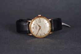 GENTLEMENS ANGELUS DATOGRAPHE 18CT GOLD WRISTWATCH, circular off white dial with gold hour markers