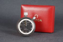 VINTAGE OMEGA STOPWATCH W/ BOX, circular black dial with off white minute track and hands, 54mm case
