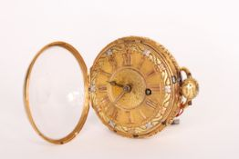 Georgian 18ct Verge Pocket Watch circa 1779, fine detailed dial in tri colour gold, Engine turned