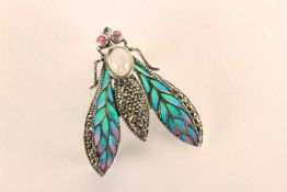 Fly Brooch/Pendant, set with cabochon moonstone, rubies and marcasites, inlaid with enamel, sterling