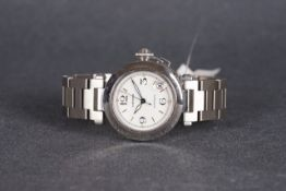 GENTLEMENS CARTIER PASHA AUTOMATIC WRISTWATCH, circular white dial with arabic numeral hour