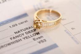 GIA 1.03CT Fancy coloured diamond ring, central modified square brilliant cut diamond, fancy deep