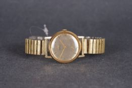 GENTLEMENS MARVIN 9CT GOLD WRISTWATCH, circular silver dial with gold hour markers and hands,