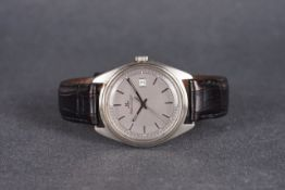 GENTLEMENS JAEGER LE COULTRE DATE WRISTWATCH, circular grey dial with stick hour markers and
