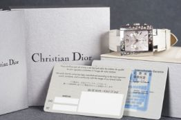 LADIES CHRISTIAN DIOR CHRONOGRAPH WRISTWATCH W/ BOX & PAPERS, square triple register dial with