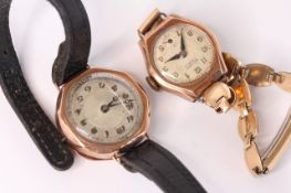 2x 9ct vintage watches, Reliont ladies with bracelet, 9ct case, the other with9ct and black