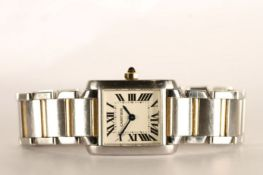 LADIES CARTIER TANK FRANCAISE WRISTWATCH 532618CD, square white dial with roman numerals, 20mm