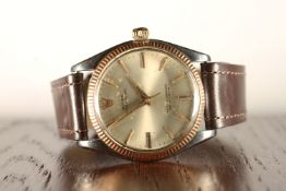 GENTLEMENS ROLEX OYSTER PERPETUAL STEEL & ROSE GOLD WRISTWATCH REF. 1005, circular silver dial