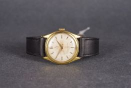 GENTLEMENS TUDOR SHOCK RESISTING WRISTWATCH, circular patina dial with gold hour markers and