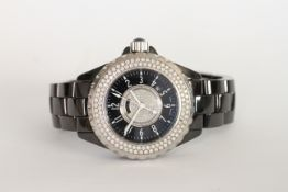 LADIES CHANEL J12 CERAMIC QUARTZ, circular dial set with diamonds, black outer dial with white