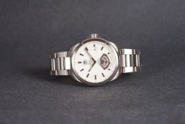 GENTLEMENS TAG HEUER GRAND CARRERA CALIBRE 9 AUTOMATIC WRISTWATCH, circular silver dial with applied