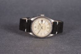 GENTLEMENS ROLEX OYSTER PERPETUAL DATEJUST WRISTWATCH REF. 6605 CIRCA 1959, circular patina dial