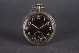 GENTLEMENS MOERIS WWI POCKET WATCH CIRCA 1914-20, circular black dial with patina arabic numeral