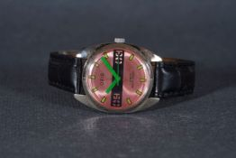 GENTLEMENS ORIS WRISTWATCH, circular pink redial with hour markers and green hands, 35mm stainless