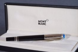 MONT BLANC FINELINER PEN W/ BOX, gloss black finish with polished silver accents throughout,