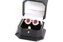 Treated Ruby and Diamond Cluster Stud Earrings