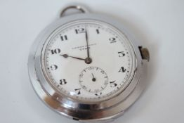 ART DECO CYMA TAVANNES WATCH CO repeater pocket watch, white two tone dial, black Arabic numerals,