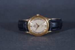 GENTLEMENS OMEGA AUTOMATIC 'PIE PAN' CONSTELLATION 18CT GOLD WRISTWATCH, circular cross hair pie pan
