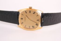 VINTAGE LONGINES DRESS WATCH, gilt dial with roman numerals, gold plated cushion case, black leather
