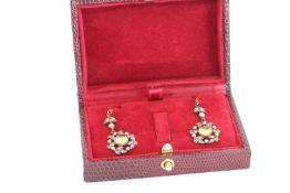 Pair of Peridot, Diamond and Seed Pearl Drop Earrings