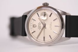 VINTAGE TUDOR JUMBO DAY DATE REFERENCE 7017/0 CIRCA 1969, circular off white dial, baton hour