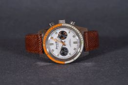 GENTLEMENS JACQUES MONNAT CHRONOGRAPH WRISTWATCH, circular white twin register dial with block