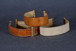GROUP OF 3 BOUCHERON LEAHER STRAPS, three leather Boucheron straps, brown and cream tone straps with