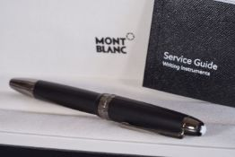 MONT BLANC BALL POINT PEN W/ BOX & BOOKLET, matte black colour with dark grey silver accents, ball