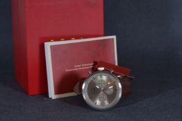 GENTLEMENS CCCP NOS CHRONOGRAPH WRISTWATCH W/ BOX & PAPERS, circular triple register silver dial