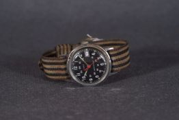 MID SIZE TIMEX 24HR DATE WRISTWATCH, circular black 24hr dial with arabic numeral hour markers and