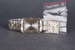 GENTLEMENS RAYMOND WEIL PARSIFAL PARTS WRISTWATCH, rectangular cream dial with roman numeral hour