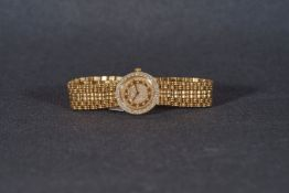 LADIES CHOPARD DIAMOND SET 18CT GOLD WRISTWATCH, circular diamond set two tone dial with diamond