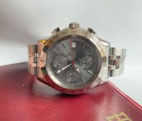 GENTLEMENS TUDOR CHRONOMATIC CHRONOGRAPH WRISTWATCH W/ BOX & PAPERS REF. 79380, circular triple