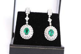 Oval Cut Emerald and Diamond Cluster Drop Earrings