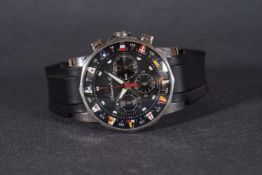 GENTLEMENS CORUM ADMIRALTY CUP CHRONOGRAPH WRISTWATCH W/ BOX, circular black triple register dial