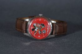 GENTLEMENS ORIS WRISTWATCH, circular red micky mouse dial with hour markers and hands, 35mm