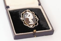 Fine Victorian Cameo and Snake Brooch, carved Hardstone cameo depicting a female, set within a