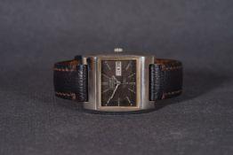 GENTLEMENS SEIKO AUTOMATI HI-BEAT CHRONOMETER DAY DATE WRISTWATCH, rectangular brown patina dial